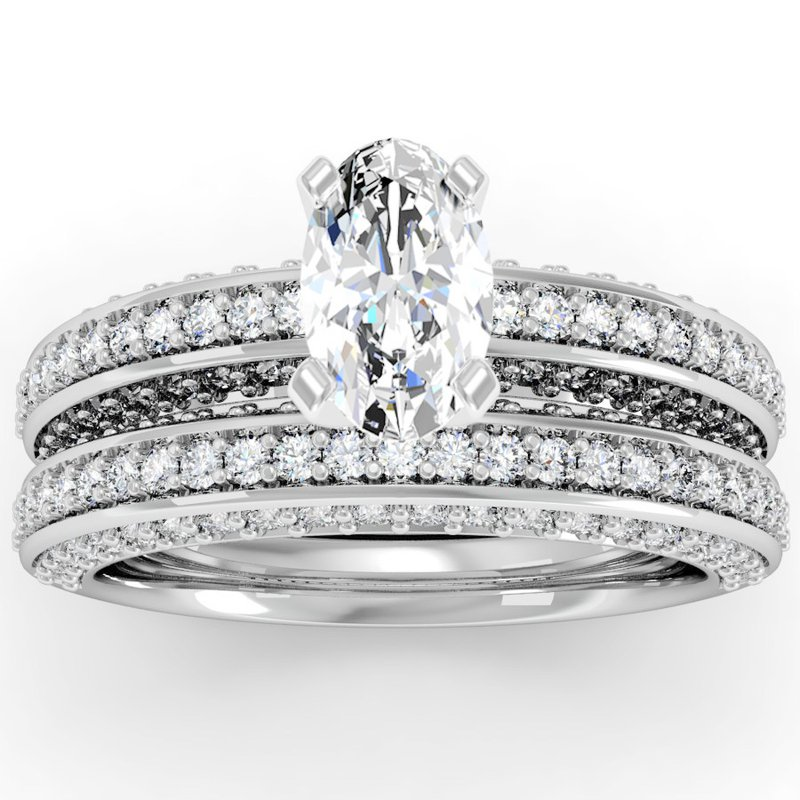 California Coast Designs Vintage Round Diamond Pave set Engagement Ring with Matching Wedding Band