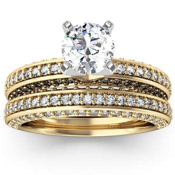 Vintage Round Diamond Pave set Engagement Ring with Matching Wedding Band