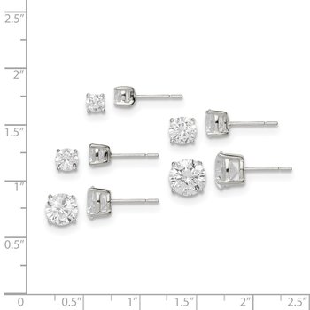 Sterling Silver Polished Round White CZ Post Earrings 5-pair Set