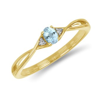10K YG and diamond and Aquamarine infinity style birthstone ring
