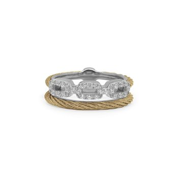Yellow Cable Layered Links Ring with 18kt White Gold & Diamonds