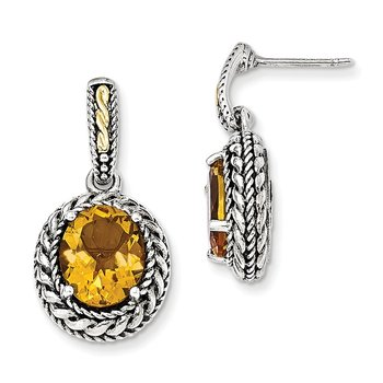 Sterling Silver w/14k Antiqued Citrine Post Dangle Earrings