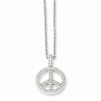 SS Rhodium-Plated CZ Brilliant Embers Polished Peace Necklace