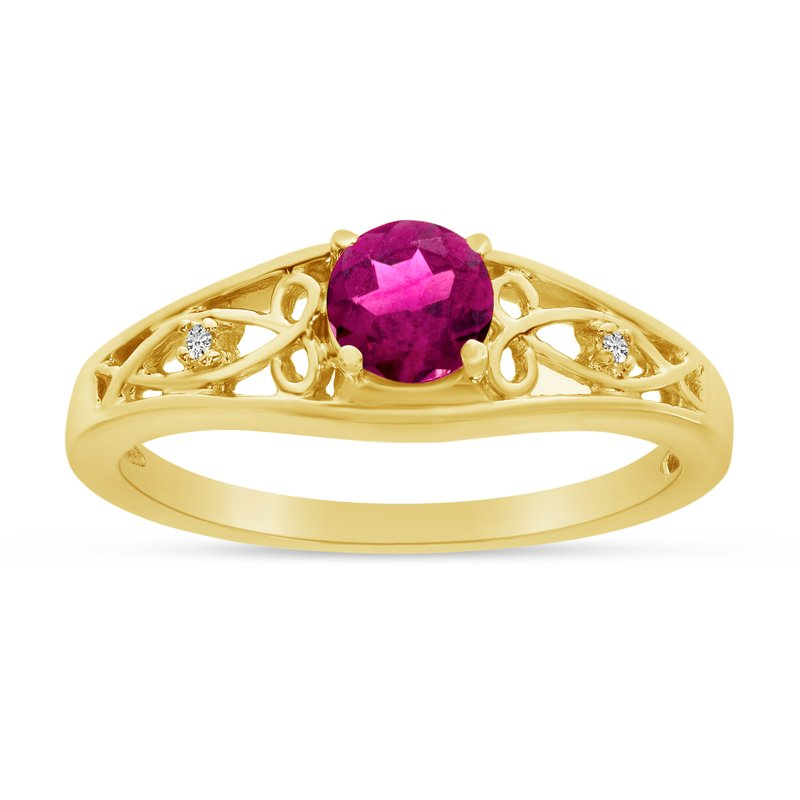 Color Merchants 10k Yellow Gold Round Pink Topaz And Diamond Ring