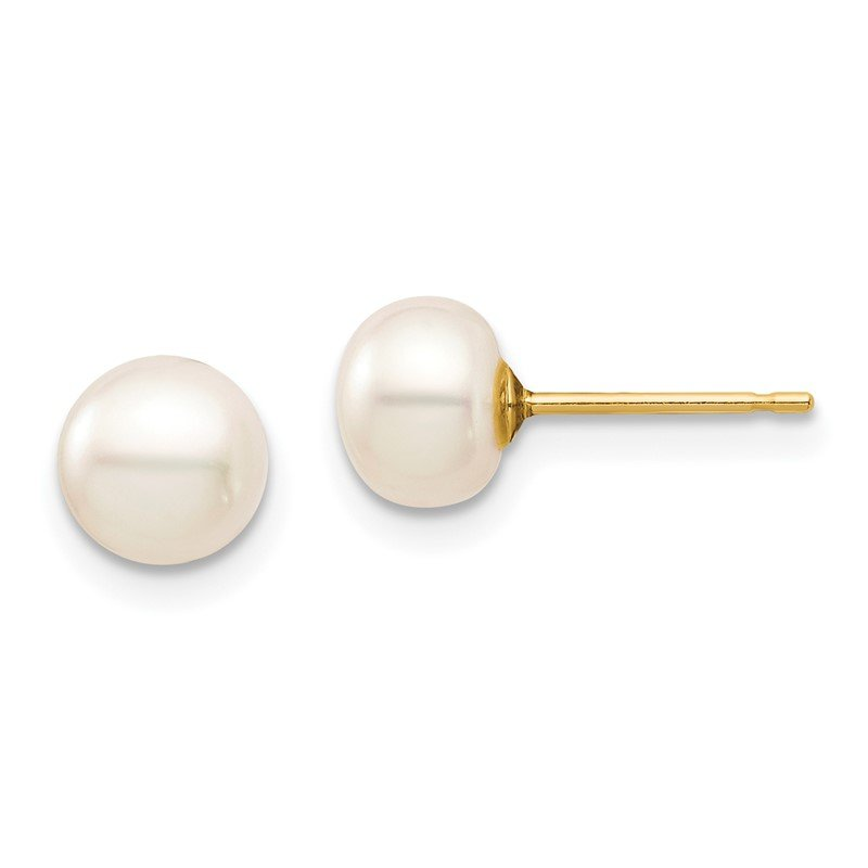 Quality Gold 14k Madi K 6-7mm White Button Freshwater Cultured Pearl Stud Post Earrings