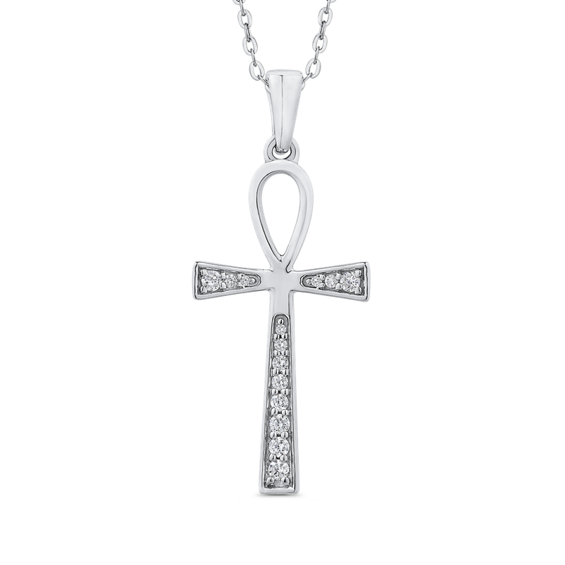 Essentials 10K White Gold 1/10 Ct Diamond Cross Pendant with Chain