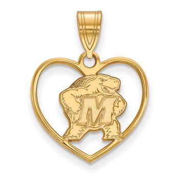 Gold-Plated Sterling Silver University of Maryland NCAA Pendant