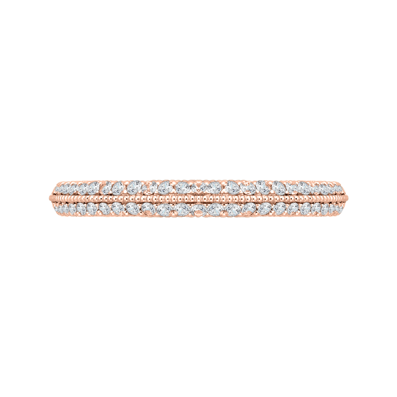 Carizza 14K Rose Gold Round Diamond Half-Eternity Wedding Band