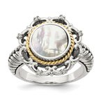 Quality Gold Sterling Silver w/14k Antiqued MOP and Diamond Ring