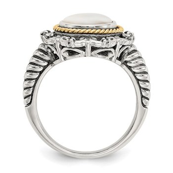 Sterling Silver w/14k Antiqued Mother-of-Pearl and Diamond Ring