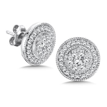 Pave set Diamond Round Halo Earrings, 14k White Gold  (1 ct. tw.) JK/I1
