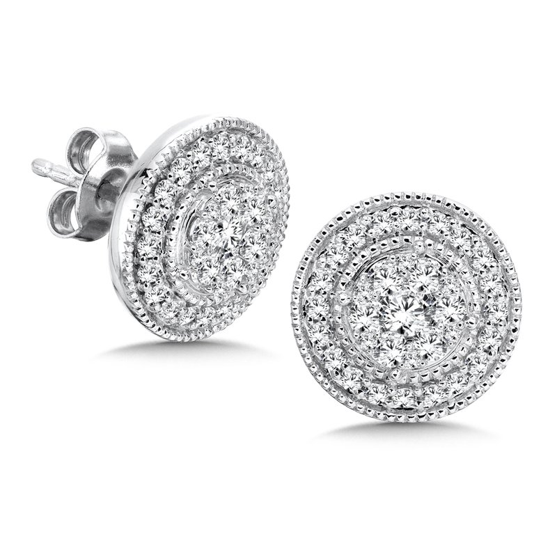 SDC Creations Pave set Diamond Round Halo Earrings, 14k White Gold  (1 ct. tw.) JK/I1