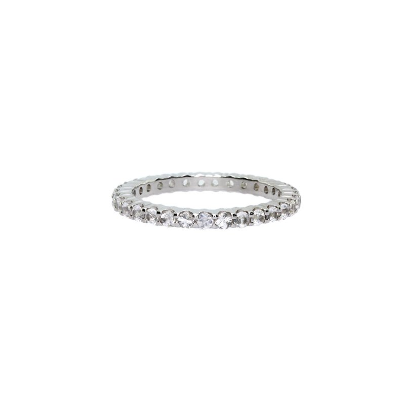 Just Perfect White Sapphire Stackable Ring in White Gold