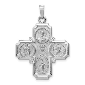 14k White Gold Four Way Medal Pendant