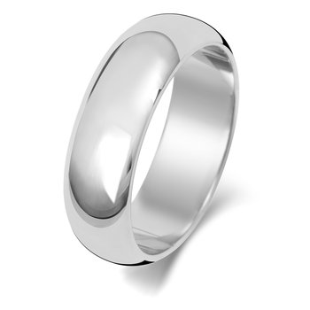 9Ct White Gold 6mm D Shape Wedding Ring