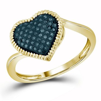 10kt Yellow Gold Womens Round Blue Color Enhanced Diamond Milgrain Heart Cluster Ring 1/6 Cttw