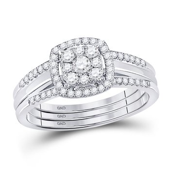 10kt White Gold Womens Round Diamond 3-Piece Bridal Wedding Ring Set 1/2 Cttw
