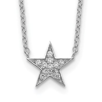 Sterling Silver Rhodium-plated CZ Star Necklace
