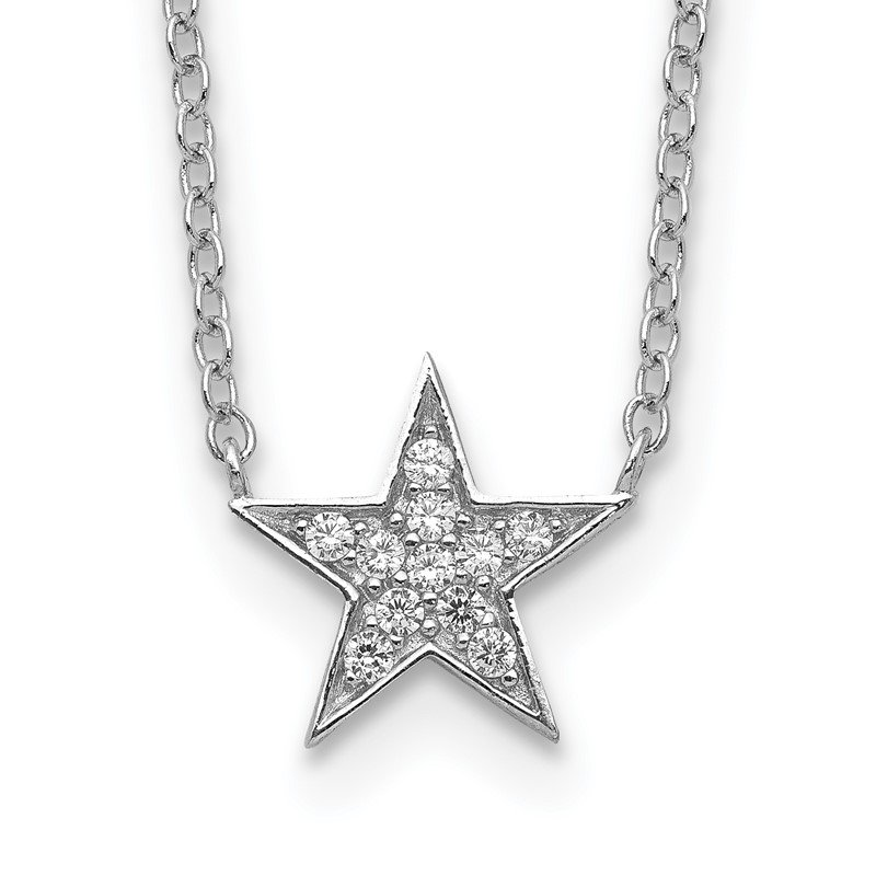 Quality Gold Sterling Silver Rhodium-plated CZ Star Necklace