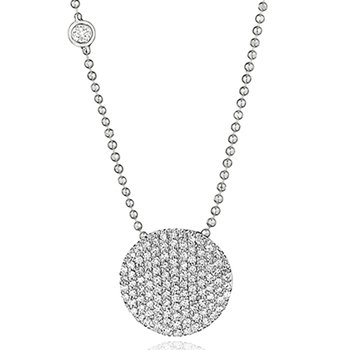 White gold diamond Infinity necklace with a bezel-set diamond