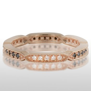 Ladies' Pink Gold Black and White Diamond Ring