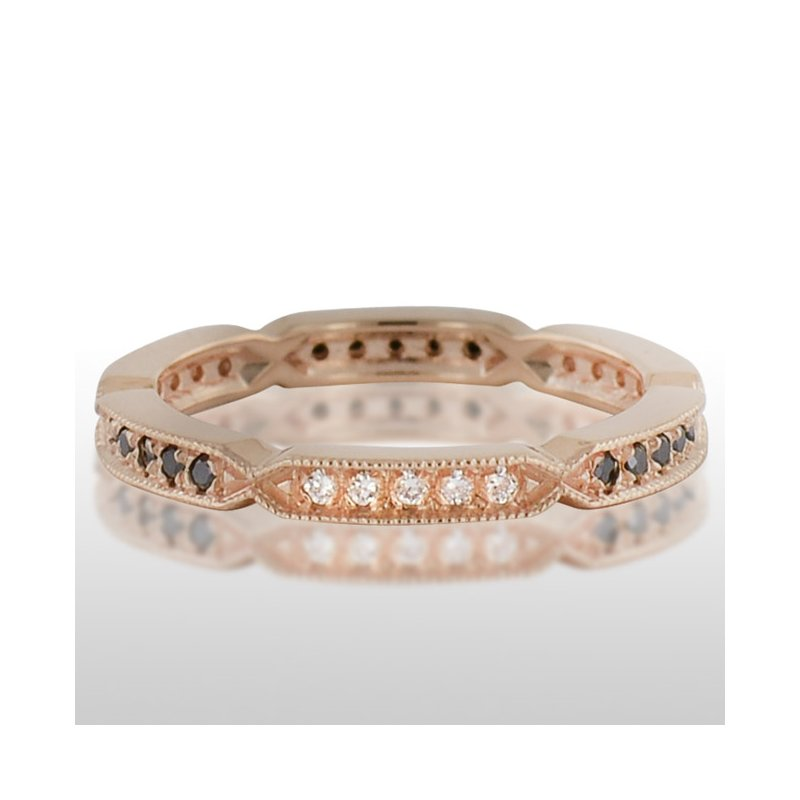 Novell Ladies' Pink Gold Black and White Diamond Ring