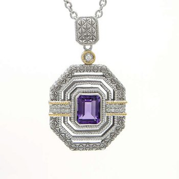 18KT AND STERLING SILVER AMETHYST & DIAMOND NECKLACE