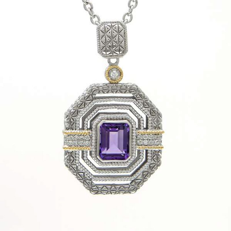 Andrea Candela 18KT AND STERLING SILVER AMETHYST & DIAMOND NECKLACE
