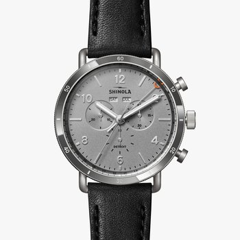 The Canfield Sport Stainless and Tungsten 45mm Silver Dial Leather Strap Watch