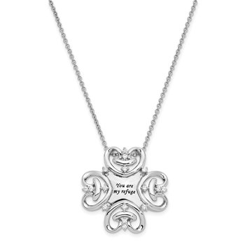 Sterling Silver CZ Antiqued You Are My Refuge 18in. Necklace