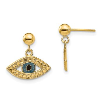 14k Diamond-cut Enameled Eye Dangle on Ball Post Earrings