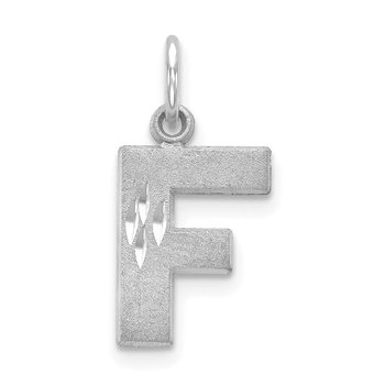 14KW Satin Diamond-cut Letter F Initial Charm
