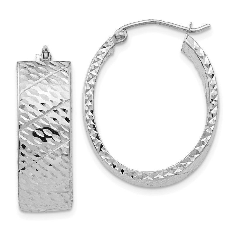 Quality Gold 14k White Gold Diamond Cut Hoop Earrings