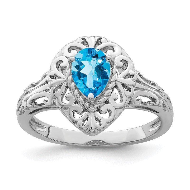 Quality Gold Sterling Silver Rhodium Plated Sky Blue Topaz Teardrop Ring