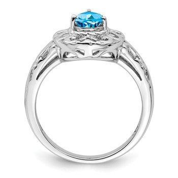Sterling Silver Rhodium Plated Sky Blue Topaz Teardrop Ring