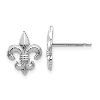 14k White Gold Gold Polished Fleur de Lis Post Earrings