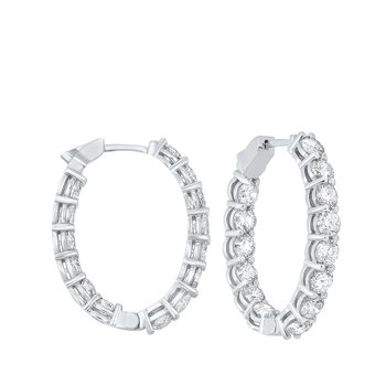 Prong Set Diamond Hoop Earrings in 14K White Gold (7 ct. tw.) SI3 - G/H