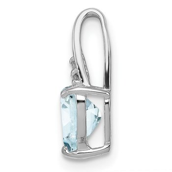 Sterling Silver Rhodium Plated Dia. & Aquamarine Heart Pendant