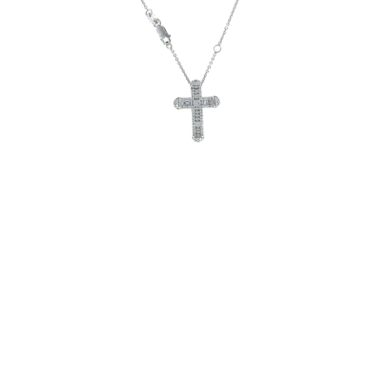 Roberto Coin 18Kt White Gold Diamond Classic Cross Pendant