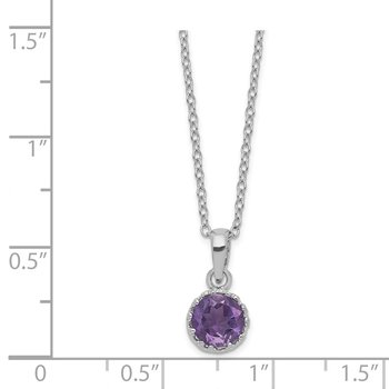 Sterling Silver Rhodium-plated 7mm Round Amethyst Necklace