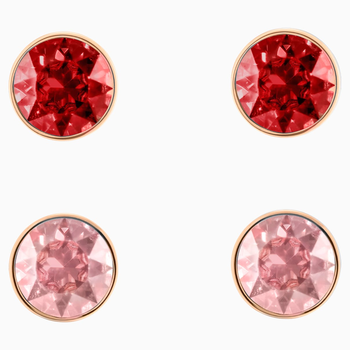 Madyson Pierced Earring Set, Red, Rose-gold tone plated