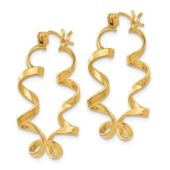 14k Fancy Spiral Hoop Earrings