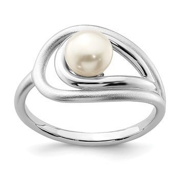 Sterling Silver Rhodium-plated Polished & Brushed (6-7mm) FWC Pearl Ring