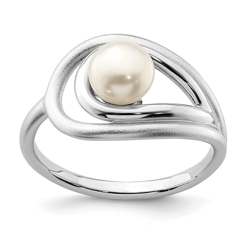 Quality Gold Sterling Silver Rhodium-plated Polished & Brushed (6-7mm) FWC Pearl Ring
