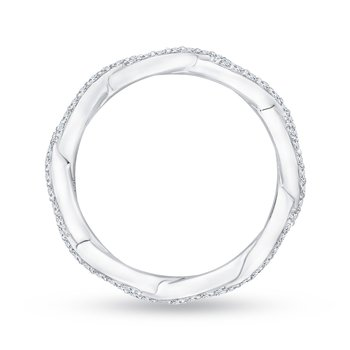 14K White Gold Round Eternity Diamond Wedding Band with Criss-Cross Crossover Shank