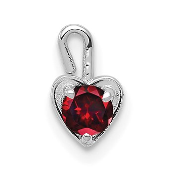 14k White Gold January Synthetic Birthstone Heart Charm