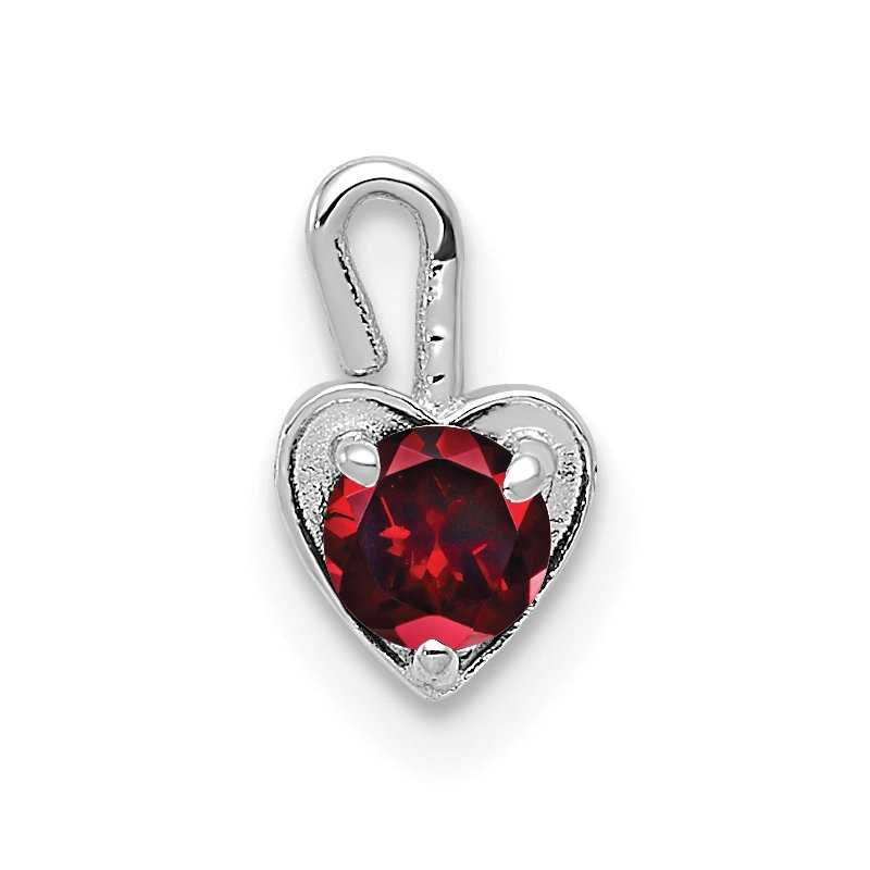 Quality Gold 14k White Gold January Synthetic Birthstone Heart Charm