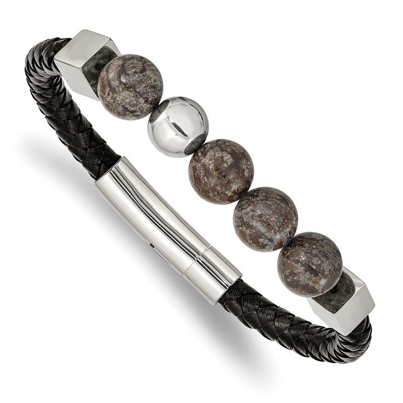 Chisel Stainless Steel Polished w/Labradorite Black Leather 8.5in Bracelet
