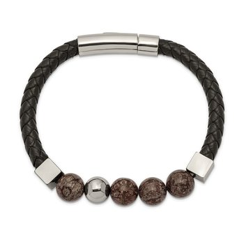Stainless Steel Polished w/Labradorite Black Leather 8.5in Bracelet