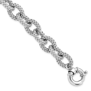 Leslie's Sterling Silver Polished Textured Link Bracelet